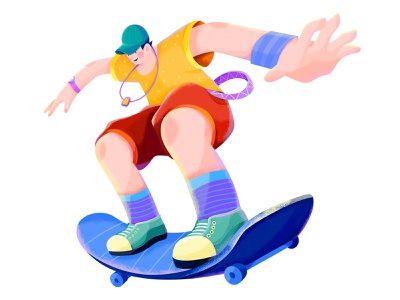 HONOR x JD618 - 3 huawei honor noise texture pose flat illustration cool sports skateboard skate sport affinity designer uran boy man people character illustration