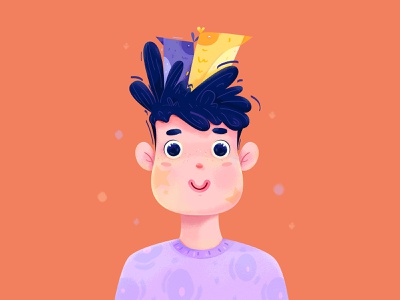 Avatar 3 fun cute noise texture happy childhood kid children child bird avatar uran boy man people character illustration
