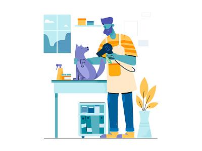 etailpet barber service vector flat cute care pet care pet dog adobe illustrator uran boy man people character illustration