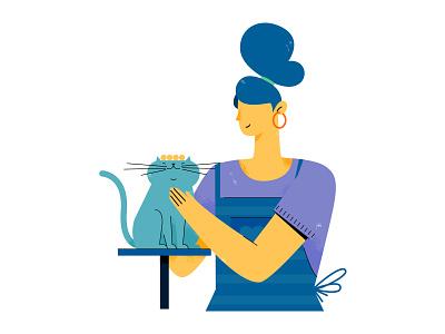 etailpet draw vector flat adobe illustrator pet care cat pet woman girl uran people character illustration