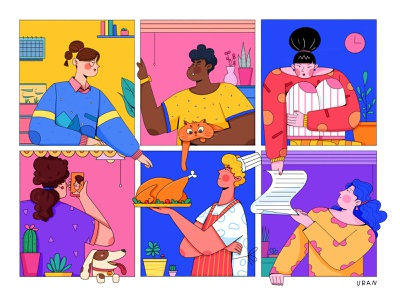 Characters collaboration remote neighbor window friends startup company business team mate woman girl boy uran man people character illustration