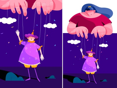 Puppet Show show puppet evening night stage finger hand girl doll woman uran people character illustration