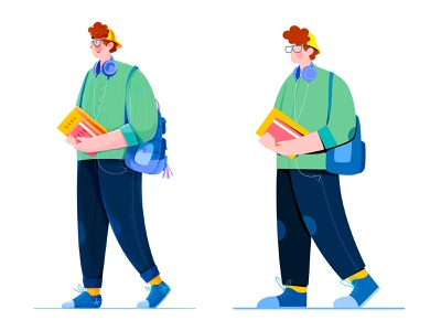 College Student vector flat young walk bag book school college student boy uran man people character illustration