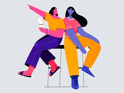 Women adobe illustrator uran flat vector sister mate friend person beauty girl people character illustration women woman