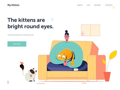 My Kittens ux ui plant sofa pussy kity house clean siamese kitten kitten cat website web illustration