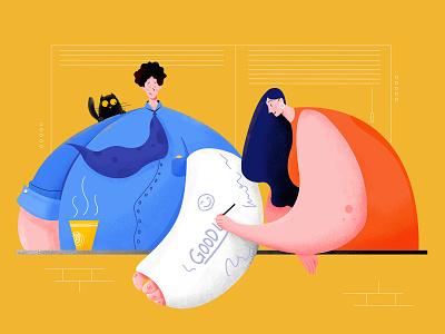 Good Luck health girl coffee business work office woman kitten people cat character website web ui illustration