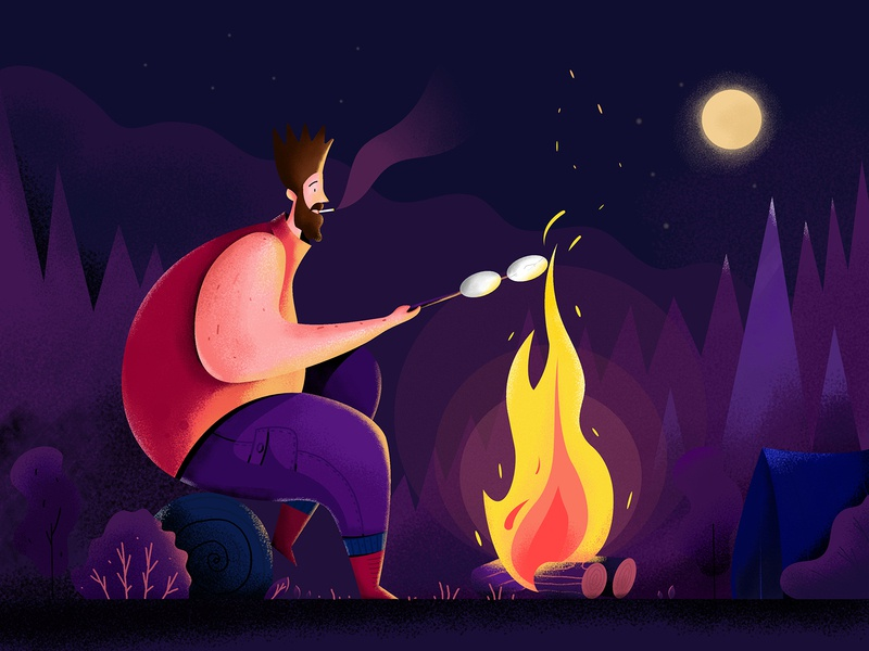 Campfire camping camp bonfire outdoor moon smoke tent fire campfire man people character website web ui illustration