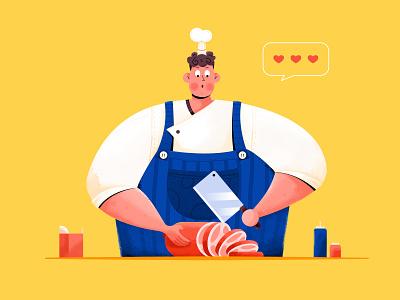 Cook order meat restaurant food dinner chef kitchen cooker cook animation character website web ui illustration