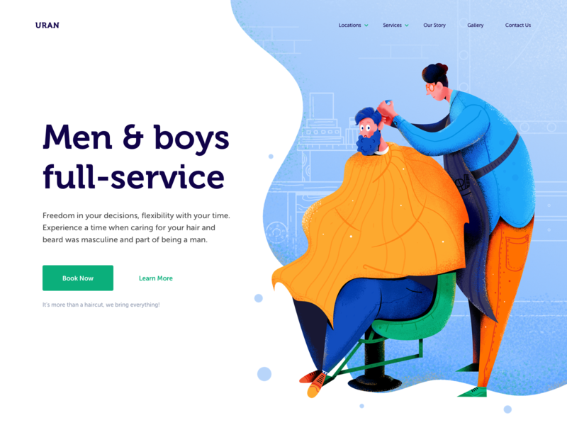 Barbershop Website service haircut saloon barbershop barber hair boy man people character website web ui illustration