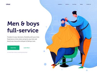 Barbershop Website service haircut saloon barbershop barber hair boy man people character website web ui illustration