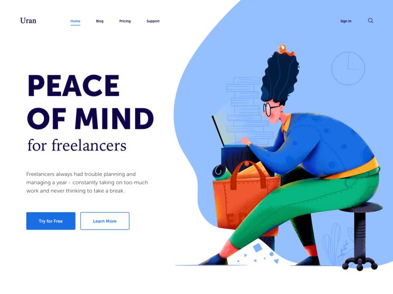 Peace of Mind calm people business computer freelancer mind peace work man character website web ui illustration