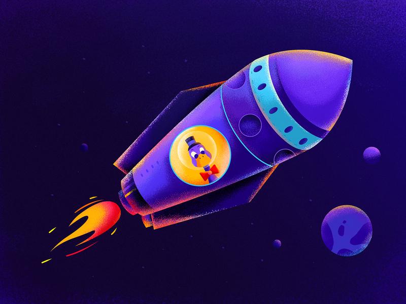 Purple Duck Club Rocket star planet earth rocketship landing landing page ux universe spaceship spaceman space rocket fire duck character website web ui illustration