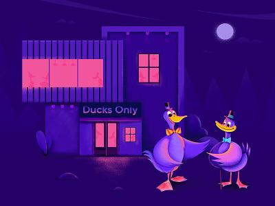 Purple Duck Club House door home house night chat talk moon light club bird duck character website web ui illustration