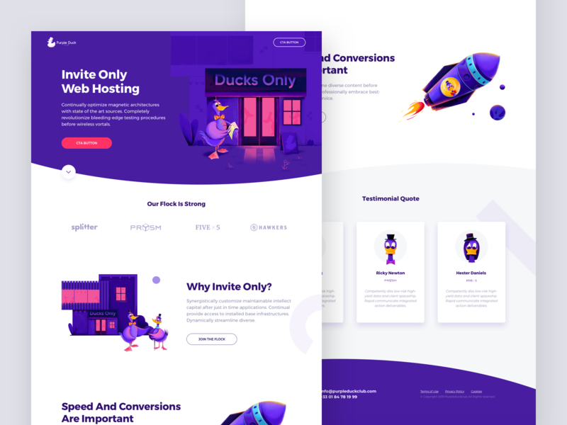 Purple Duck Club Landing Page bird portfolio landing page landing ux rocketship housekeeper space rocket house club duck purple character website web ui illustration