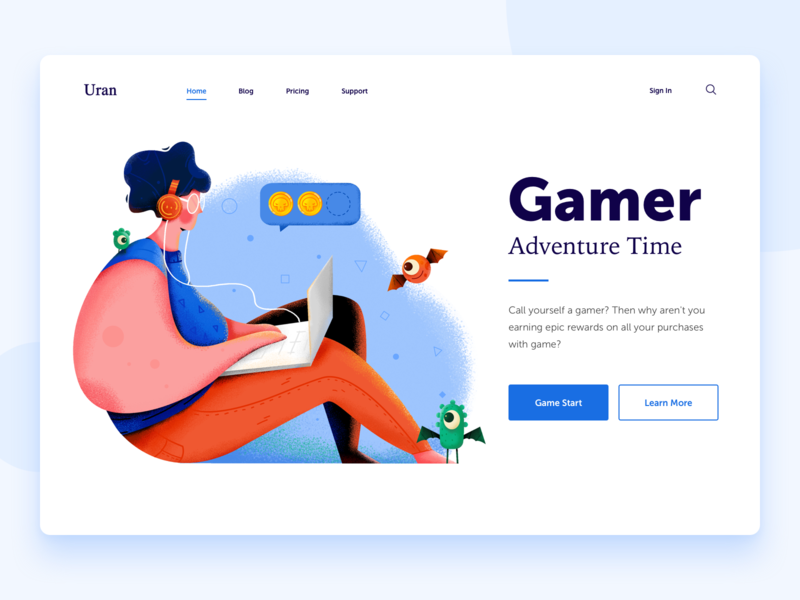 Gamer money adventure coin monster player play gamer game ux man people character website web ui illustration