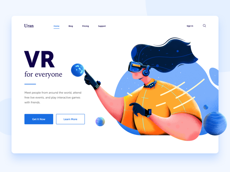 VR touch hair girl woman earth planet game reality virtual vr people character website web ui illustration