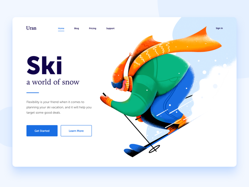 Ski vacation holiday sport white equipment snowboard snow ski header boy man people character website web ui illustration