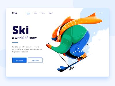 Ski vacation holiday sport white equipment snowboard snow ski header boy man people character website web ui illustration