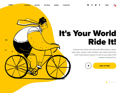 Bike boy track cycle cyclist rider ride bicycle bike interface header ux man people motion animation character website web ui illustration