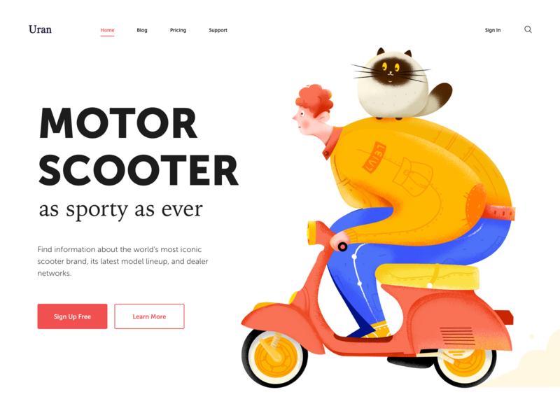 Motor Scooter header wheel car driver motorbike scooter motor kitten kitty cat boy man people character website web ui illustration