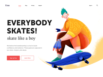 Everybody Skates gloves cool skateboard skate sport wheel speed header boy man people character website web ui illustration