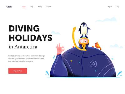 Diving Holidays penguin antarctica sea water vacation holiday diver diving header boy man people character website web ui illustration