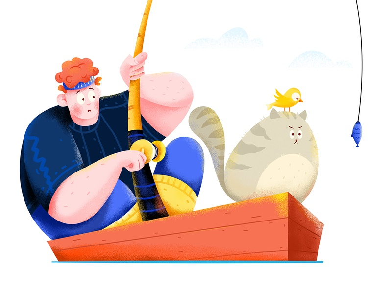 Fishing row river ocean sea water boat fishman fishing fish bird kitten kitty cat boy man people character illustration