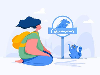 Empty State / Company Prospects explore journey backpacker uran footprint panel sign dinosaur empty woman girl kitty kitten cat people character website web ui illustration