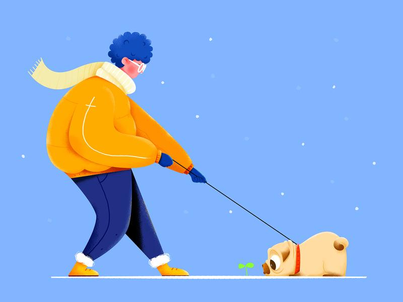 Walking The Dog winter cute concept clean animal color uran sapling snow walking walk dog boy man people character website web ui illustration