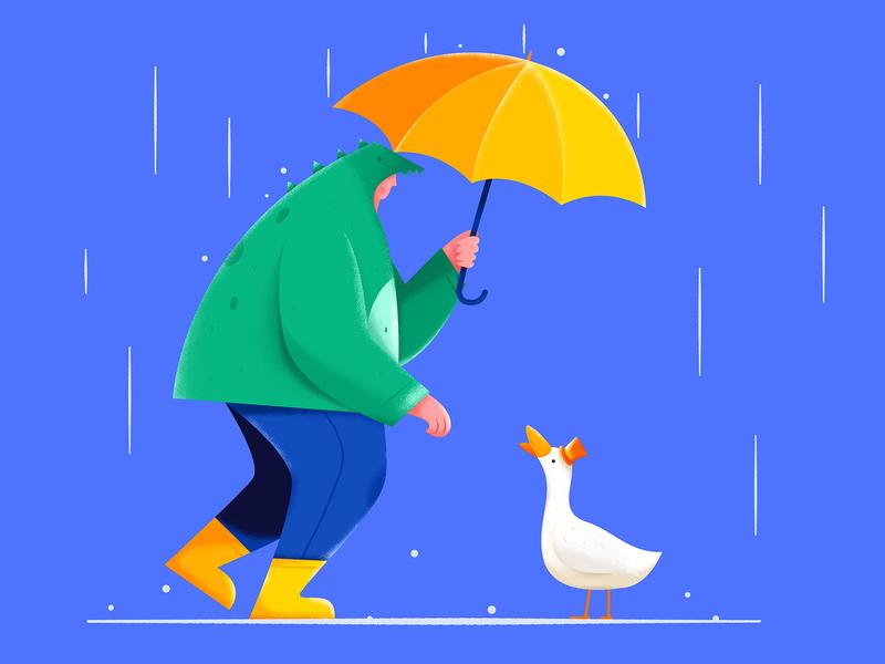 Mr. Duck In The Rain bird hat outdoor dinosaur help umbrella blue rainy rain drop water goose duck man people character website web ui illustration