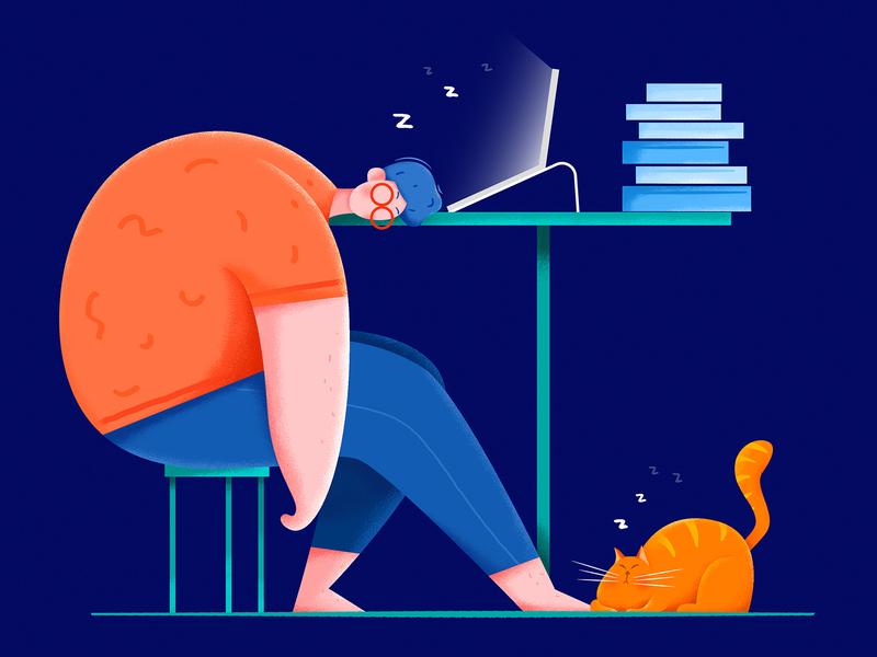 Work Overtime uran computer sleep evening night overtime tired office work kitty kitten cat boy man people character website web ui illustration