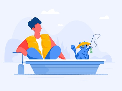Empty State / Customer Tags website mountain outdoor river pond ship boat tag fishing fish kitty kitten cat boy man people web ui character illustration
