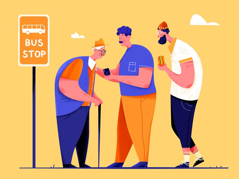 Bus Stop crutch wait uran orange sign old phone help hamburger station stop bus boy man people website ui web character illustration