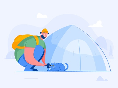 Empty State / Campaigns hammer backpacker voyage explore journey camping camp campaign tent kitty kitten cat boy man people website web ui character illustration