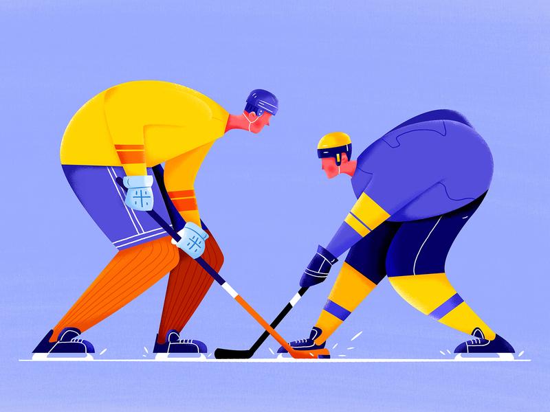 Ice Hockey olympic winter match ball player play sportsman athletes puck hockey ice sport boy man people website web ui character illustration