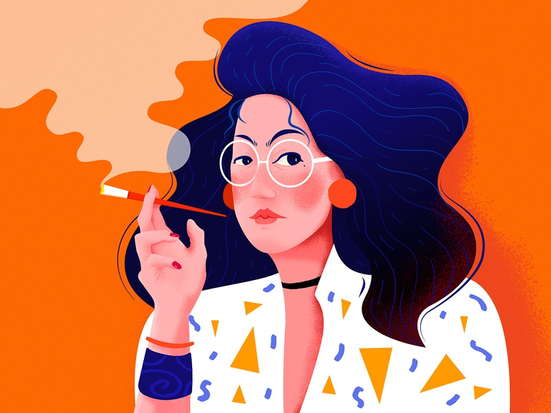 Smoking Hot fashion orange lover sexy head portrait korean asian lady hot smoking smoke woman girl people website web ui character illustration