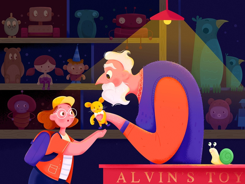 Old Alvin's Toy old childhood dark light elder teddy children child shop store toy cabin girl man people website web ui character illustration