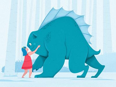 Girl And Monster tale fairy story uran giant beast outdoor forest animal monster kid children child girl people website web ui character illustration