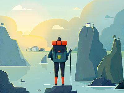 Explorer sea pond explore adventure tour journey backpacker vacation holiday travel scenery landscape boy man people website web ui character illustration