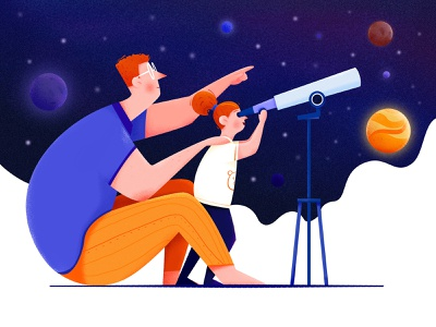Telescope earth kid child daughter dad star space universe planet telescope family father girl man people website web ui character illustration