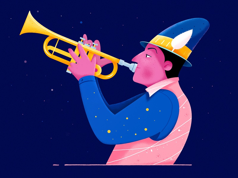 Trumpet musical play cloth fashion universe hat night star instrument music trumpet role boy man people website web ui character illustration