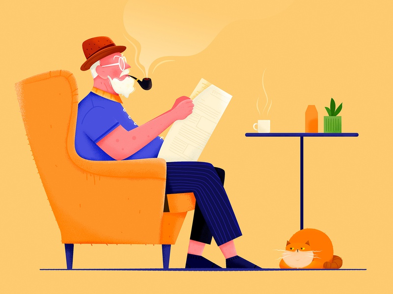 Read Newspaper news newspaper read home kitty smoking smoke sofa relax old office kitten cat man people website web ui character illustration