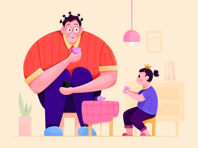 Daughter's Tea Party indoor room daughter dad father party tea love family kid children child girl man people website web ui character illustration