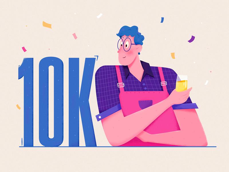 10k cheers drink role 10000 uran fashion thanks happy follower wine celebrate 10k boy man people website web ui character illustration
