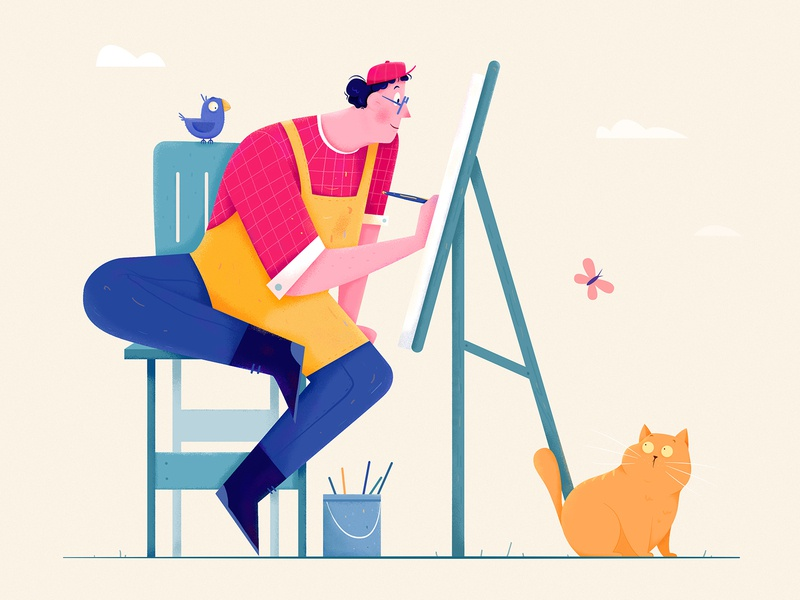 Painter animal bird paint painter draw sketch outdoor hat butterfly kitty kitten cat boy man people website ui web character illustration