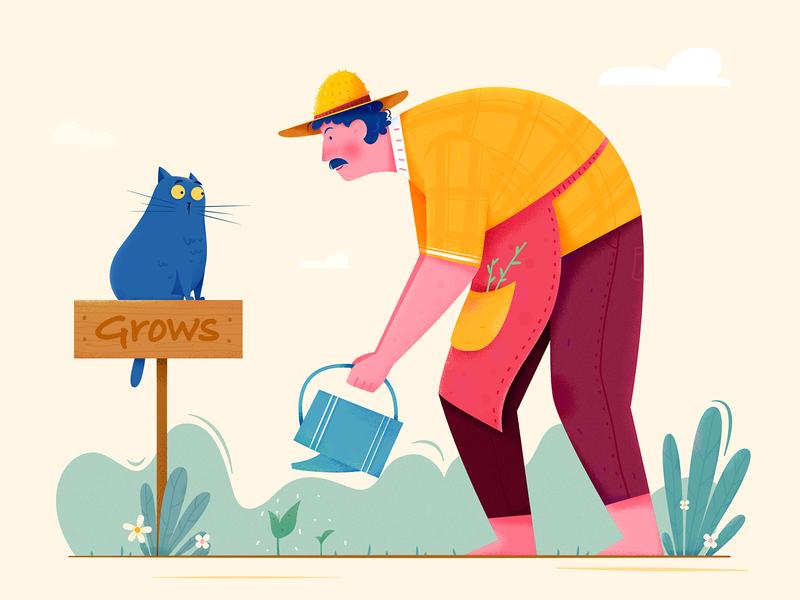 Grows outdoor watering water plant farmer farm sign grow garden kitty kitten cat boy man people website web ui character illustration