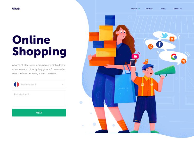 d100f7780f2 Online Shopping layout header mobile loudspeaker bag box bird cart shopping  online shop online woman girl