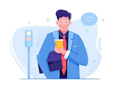 Office Worker information suit briefcase business person guy light street role drink coffee freelance work worker office boy man people character illustration