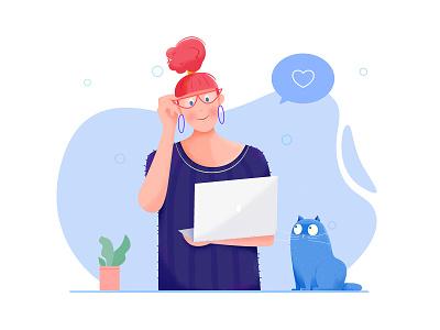 Designer designer computer glasses hair role plant like love affinity designer design office work woman kitty kitten girl cat people character illustration