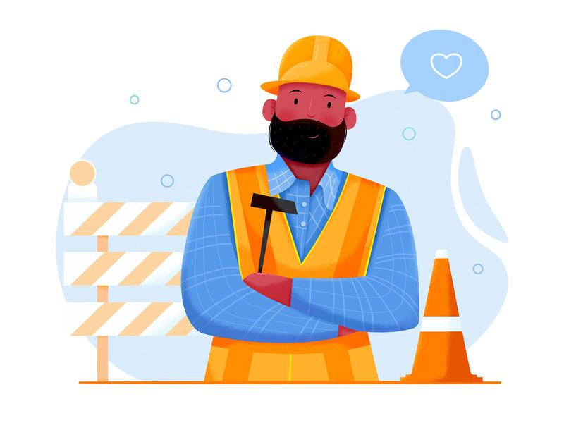 Builder career profession stop obstacle like hammer person job worker work construction affinity designer builder build role boy man people character illustration